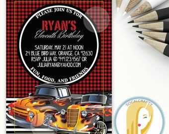 Car Birthday Party Invitation, Classic Cars, Vintage Car, Hotrod, Buffalo Plaid, Red Black, Printed or Printable Invitations, Free Shipping