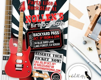 Rock and Roll Birthday Party Invitation, Guitar, Rock Star, Concert Ticket, Black White Red, Printed or Printable Invitations, Free Shipping