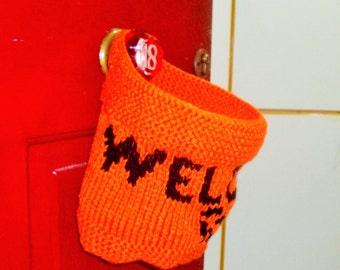 Personalized welcome door hanger, door basket orange black jack o lantern hand knit personalized gift hostess gift halloween decor