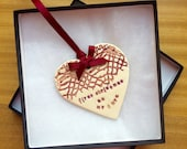 First christmas married as mr and mrs ceramic heart decoration tree ornament keepsake