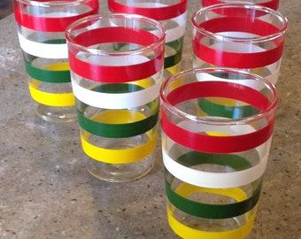 Vintage Anchor Hocking Fiesta Band Glass Tumbler Set of 6 Juice Red White Green Yellow Bands