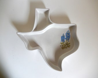 Vintage 1970's FRANKOMA Texas Shaped Chip & Dip Serving Dish with Blue Bonnets