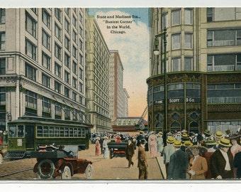 State & Madison Street Scene Streetcar Cars Chicago Illinois 1915 postcard
