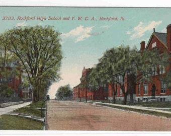 High School YWCA Rockford Illinois 1910c postcard