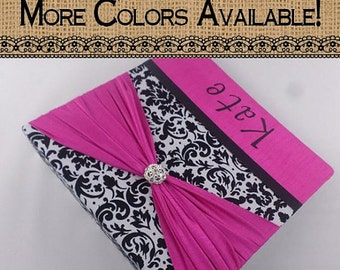Baby Memory Book Girl Baby Book Photo Album Hot Pink Black Damask Personalized Scrapbook pregnancy Journal 4x6 5x7 8x10 Pictures