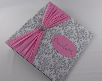 PHOTO ALBUM Personalized Photo Album baby girl Photo Album Baby photo album custom photo album 4x6 5x7 8x10 600 pictures Gray Pink Damask