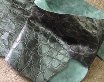 BASK108.   Embossed Black Reptile Leather Cowhide Partial
