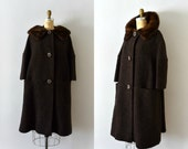 Vintage 1950s Dress Coat - 50s Brown Boucle Wool and Fur Coat
