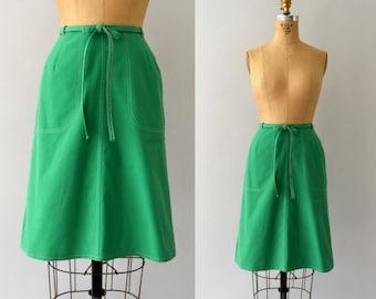 1970s Vintage Skirt - 70s Kelly Green Cotton Wrap Skirt