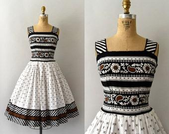 RESERVED LISTING -- 1950s Vintage Dress - 50s Alex Coleman Floral Striped Cotton Sundress