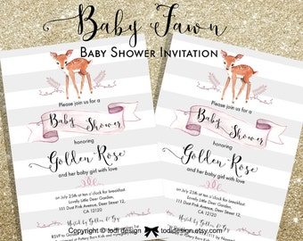 Baby  Fawn Baby Shower Party Invitation - Little Deer- Baby Girl invitation Printable digital file