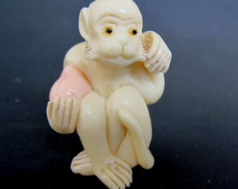Vintage Japanese Bone netsuke -White Monkey has Peach,twists whiskers