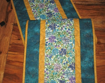 Quilted Table Runner, Blue, Purple and Gold Filigree Paisley, Reversible Runner, 13 x 48""
