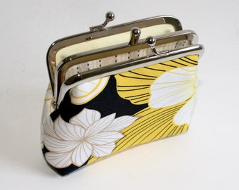 2-Compartment Coin Purse. Double Frame Purse. Two Compartment Coin Purse in Black with Yellow and White Flowers