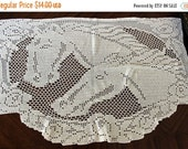 Vintage Filet Crocheted Table Runner - Table Scarf in French Cream, Hand Made Centerpiece 13383