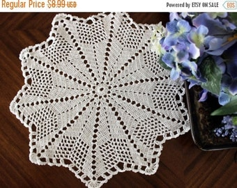15 Inch White Lacy Crochet Doily - Hand Made, Vintage Doiles 13557