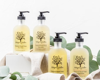 Liquid Soap in a Glass Pump - Made with Organic Essential Oils - Lavender, Lemongrass, Peppermint, Tea Tree or Rose - Handcrafted - 8 oz