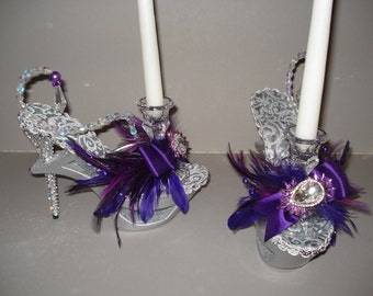 "High Heel Candle Sticks  ""Dining with a Diva"" Silver"