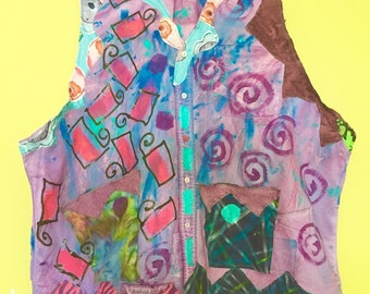 Hand dyed hand painted cotton reconstructed vest plus size