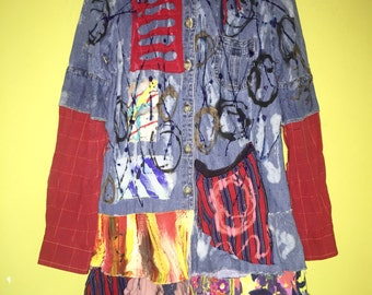 Urban grunge style mixed media denim coat ruffles fits size small