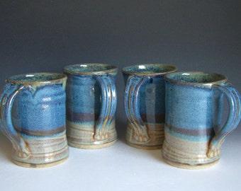 Hand thrown stoneware pottery mugs set of 4  (M-41)