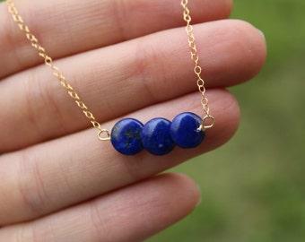 Lapis Lazuli Bar Necklace, Lapis Dainty Necklace, Minimalist, Blue Gemstone Necklace, Lapis Lazuli Necklace, Lapis Bar, Delicate, Layering