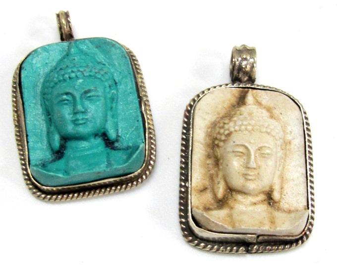 2 Pendants set - Tibetan green color and cream white color Buddha face pendants from Nepal - PS001G copyright Nepalbeadshop