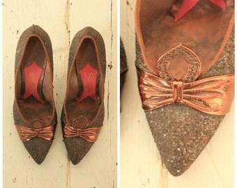 1950's Rare Schiaparelli Glitter Bow Pumps, Shoes.