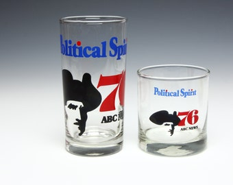 1976 POLITICAL SPIRIT Highball Glass and Rocks Glass ABC News New York