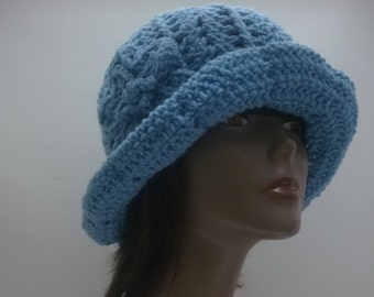 Women's  Roll Brim Bucket Cloche Hat With Flower