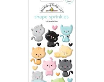 Doodlebug KITTEN SMITTEN Shape Sprinkles Glossy Embellishments