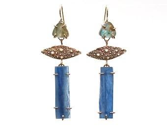 Labradorite and Kyanite Earrings/OOAK/OOAK Earrings/Kyanite Earrings/Sea Urchin Earrings/One of a Kind