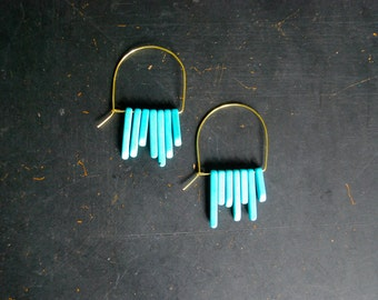 FREE Shipping - Boho Half Moon Hoop Earring - gold wire, turquoise howlite points