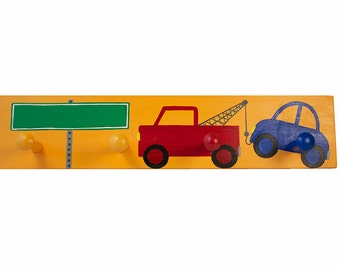 S A L E - Personalized Hand Painted Tow Truck Shaker Peg Rack - Add Your Name