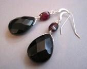 Onyx and Garnet Earrings, Sterling Silver, Teardrop Earrings, Gemstone Earrings, Black Stones