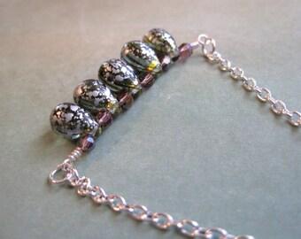 Raindrop Bar Necklace, Czech Glass Necklace, Green Necklace, Modern Necklace, Minimalist Necklace, Purple Beads