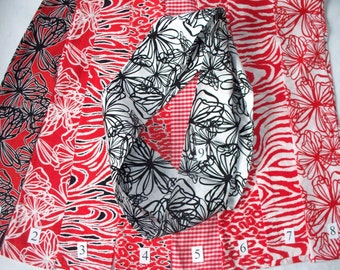 SALE Bright and Bold Infinity Scarf,Your Choice,Handcrafted Infinity Scarves,Red Floral,Zebra Stripes, Checkerboard,Black and White
