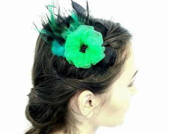 Green and Black Feathers Fascinators, Green Flower Hair Clip, Black Feathers Hair Accessory