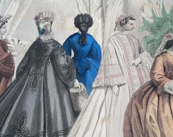Antique art print, fashion illustration, antique Godey print, Godey's Fashions, ladies fashions