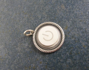 Pendant Only:  Power Up Braided Pendant- Recycled MAC Power Button Necklace