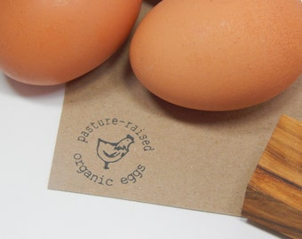 Pasture-Raised Organic Eggs Olive Wood Stamp