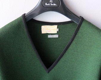 Vintage SULKA Men's Sweater - Green & Black Micro Plaid - Made in France  1960s 1970s Preppy Cool - Top Tier Luxury Brand - Fathers Day Gift