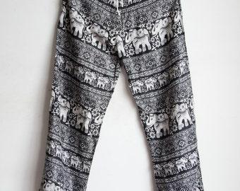 Black Elephant Printed Rayon Harem Pants /Gypsy Pants/Aladdin Pants/Genie Pants/Yoga Pants /Thai Pants