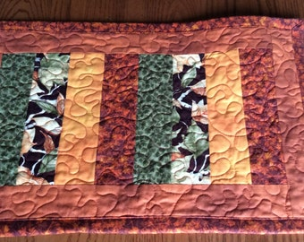 Quilted Table Runner Fall Floral Strip Pieced Quilt Table Topper