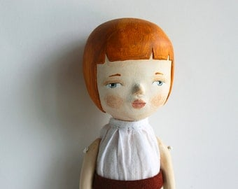 OOAK art doll - Hand sculpted paper clay doll - One of a kind - Elodie