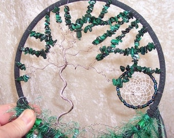 Windswept Malachite TREE of LIFE - Dreamcatcher in Dark Green and Peacock by Feathered Dreams