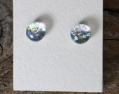 "Dichroic Glass Earrings Silver Gold Blue 5/16"" DGE-874"