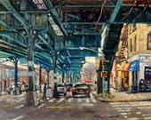 Original Oil Painting, From the 215th station, NYC. Oil on Panel, 11x18 Urban Impressionism, New York City Realist Fine Art, Signed Original