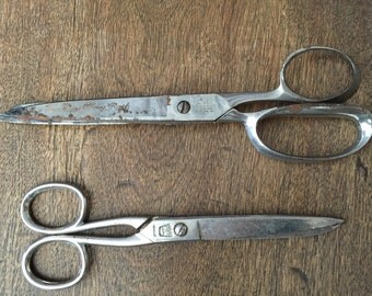 Antique Scissors or Vintage Shears.  Set of 2.  Engraved Our Very Best.  OVB. Germany.