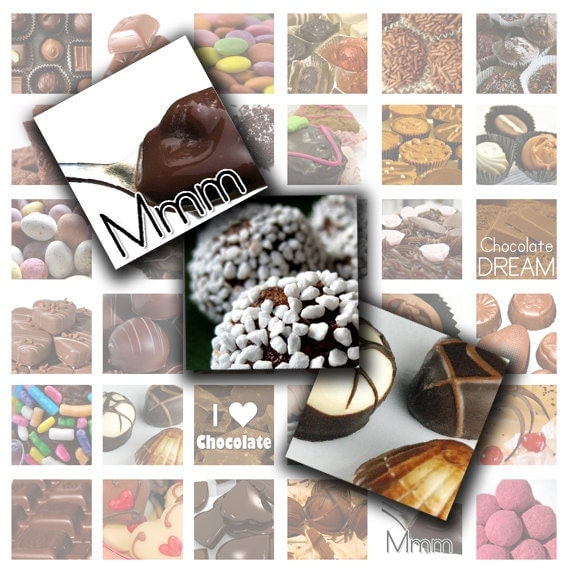 Chocolate Confection -  Digital Collage Sheet (No. 167 - 1 Inch Square Tiles for Glass Pendants, Magnets, and More